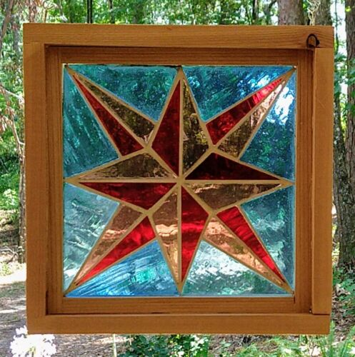 Stained Glass Panel, Mid 20th Century, Mouth Blown - Framed - Star