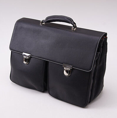 New $860 LA RANCIA Black Double-Buckle Soft Calf Leather Briefcase Three-Gusset