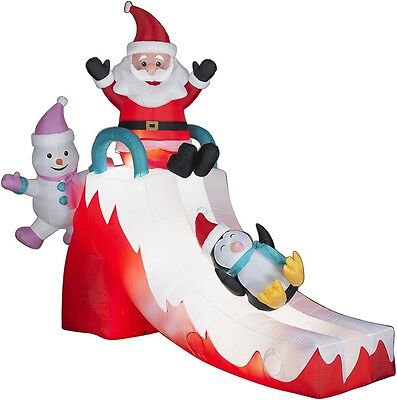 Sliding Santa Snowman Penguin Gemmy Christmas Airblown Inflatable 8.5 Ft New