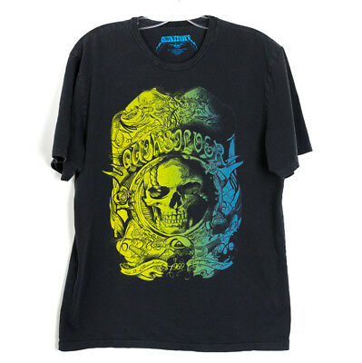 Quicksilver men's t-shirt with skull print green yellow black Size L large