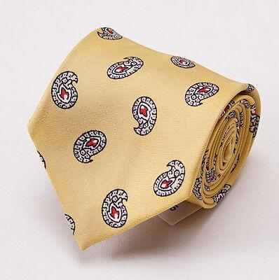 NWT $195 LUCIANO BARBERA Light Yellow Paisley Print Silk Tie Handmade
