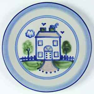 M A Hadley COUNTRY SCENE BLUE House Dinner Plate