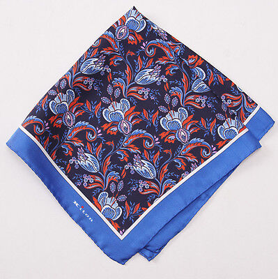 New $215 KITON NAPOLI Navy-Red-Blue Nouveau Floral Print Silk Pocket Square