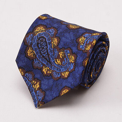 NWT $195 LUCIANO BARBERA Blue-Brown-Gold Paisley Print Silk Tie Handmade