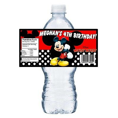 Party Mouse (20 MICKEY MOUSE PERSONALIZED BIRTHDAY PARTY FAVORS ~ WATER BOTTLE)
