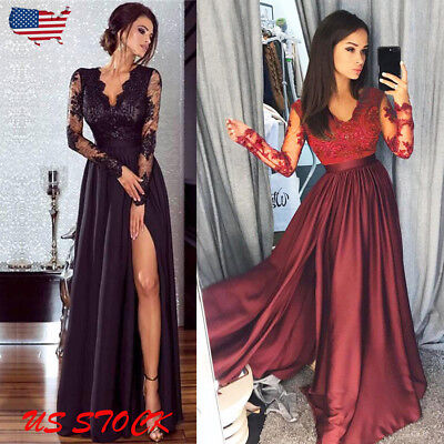 US Womens Lace Chiffon Dress Formal Ball Gown Prom Bridesmaid Long Maxi Dresses (Lace Maxi Dress)