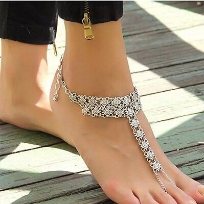 1 Pair Barefoot Sandals Anklet Silver Chain Ankle Bracelet Foot BOHO Beach