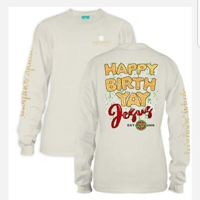 NWT Simply Southern- Happy Birth Yay Jesus size adult medium ](Happy Birth)