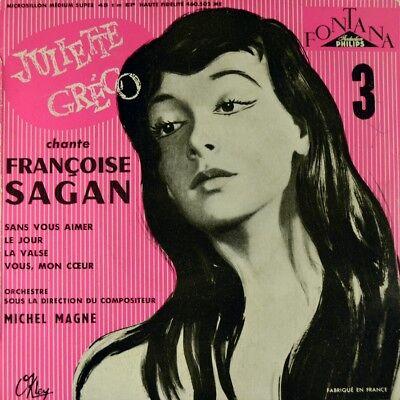 "7"" JULIETTE GRECO cante FRANÇOISE SAGAN Chanson MICHEL MAGNE FONTANA EP F 1956"