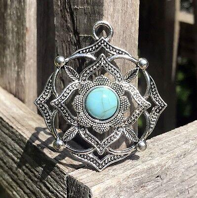 Bilu-Shamas Silver & Turquoise Amulet Elite Paranormal Freemason Magic Wiccan NR