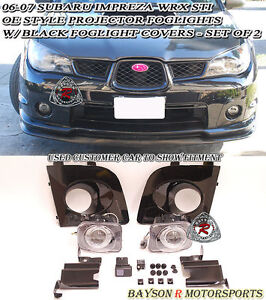 06-07 Impreza WRX STI Projector Fog Lights (Clear) + Covers (Black)