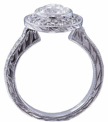 GIA G-SI1 18k White Gold Round Diamond Engagement Ring Bezel Set Art Deco 1.20ct 1