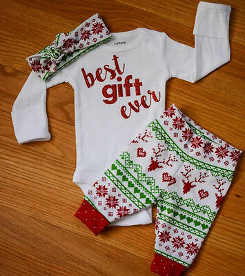 Christmas Reindeer Snowflake Baby Boy Girl Outfits Clothes Romper Leggings 3pcs](Baby Christmas Reindeer Outfit)