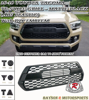 TP-Style Front Grille (ABS Black) w/ DIY Emblems Fit 16-18 Toyota Tacoma