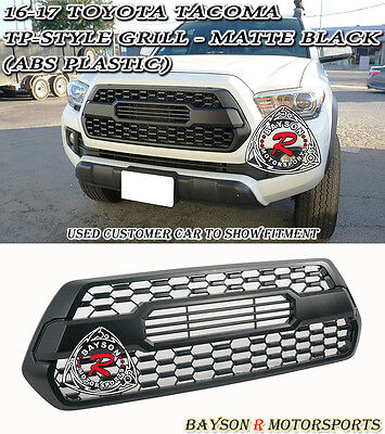 Abs Plastic Grille - TP-Style Front Grille Insert ABS Plastic (Matte Black) Fits 16-18 Toyota Tacoma