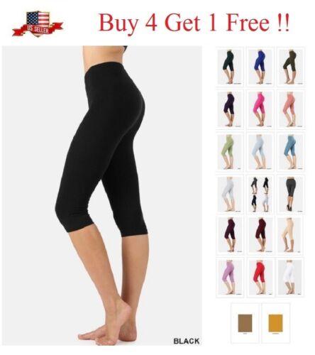 High Waisted Cotton Stretch Below Knee Capri Leggings Yoga Gym Misses Plus S-3x
