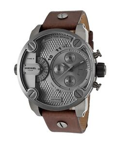 Diesel DZ7258 Little Daddy Brown Leather Gunmetal Dial 51MM BRAND NEW AUTHENTIC