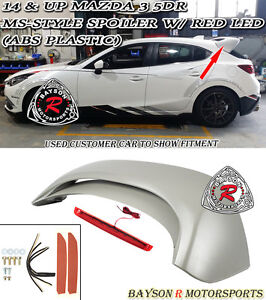 Mazda 3 hatch parts accessories ebay ms style rear roof spoiler abs red lens leds fits 14 18 mazda 3 hatch 5dr fits more than one vehicle publicscrutiny Images