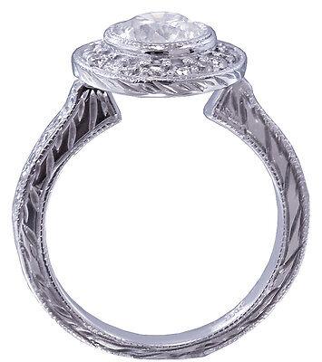 GIA I-SI1 18k White Gold Round Diamond Engagement Ring Bezel Set Art Deco 1.20ct
