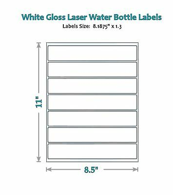 49 Blank Water Bottle Label Glossy Labels Wrappers Party New Laser 16.9 Oz