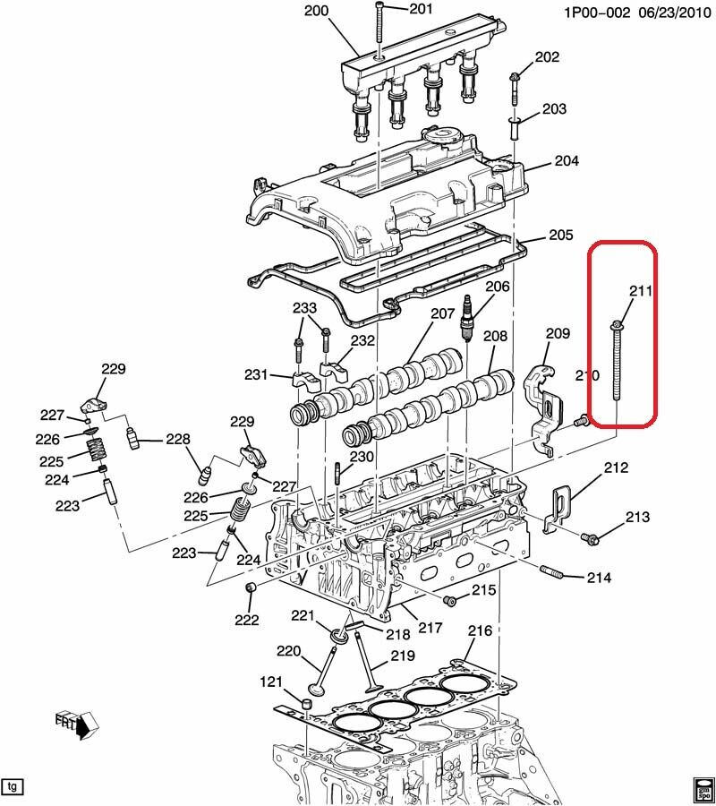 GENUINE GM 55566811 Knurled Cylinder Head Bolt M9X1.25X121