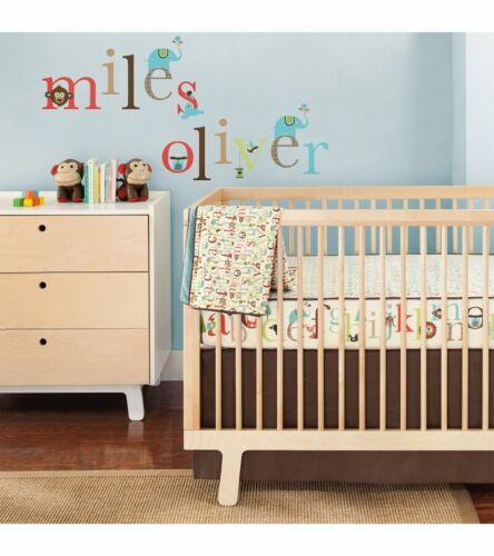 Skip Hop Complete Sheet Bumper-Free 4pc Crib Bedding Set w Decals, Alphabet Zoo
