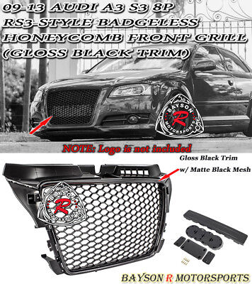 RS3-Style Badgeless Honeycomb Front Grille (Gloss Black) Fit 09-13 Audi A3 S3 8P for sale  USA