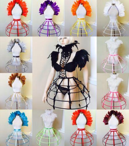 Crinoline hoop cage skirt pannier 4 rows elastic waist cage Dress