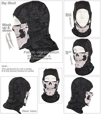 Bg-Skull Face Full Mask by Windmask under helmet Motorcycle Ski Hood Balaclava