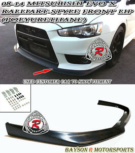 Ral-Style Front Lip (Urethane) Fits 08-15 Mitsubishi EVO X 10 [EVO BUMPER ONLY]