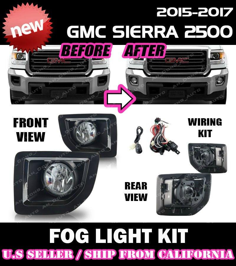 Winjet 15-17 GMC Sierra 2500 Clear Fog Light Wiring Kit Included WJ30-0428-09
