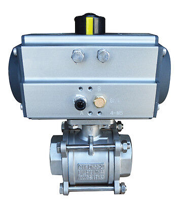 New 2inch 3- Piece Pneumatic Single Acting Stainless Steel Ball Valve Ball Check