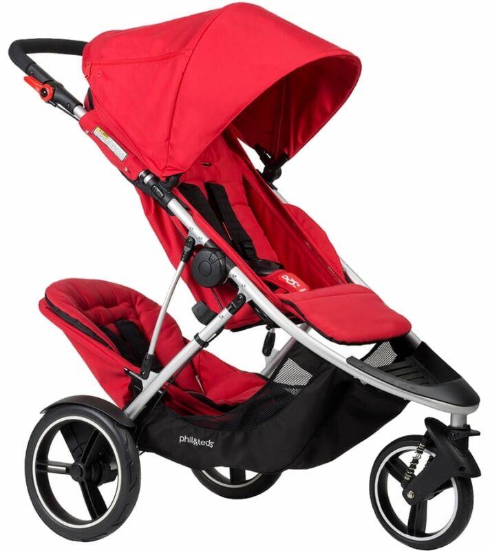 Phil & Teds Dash V5 Stroller & Double Kit - Red - NEW!