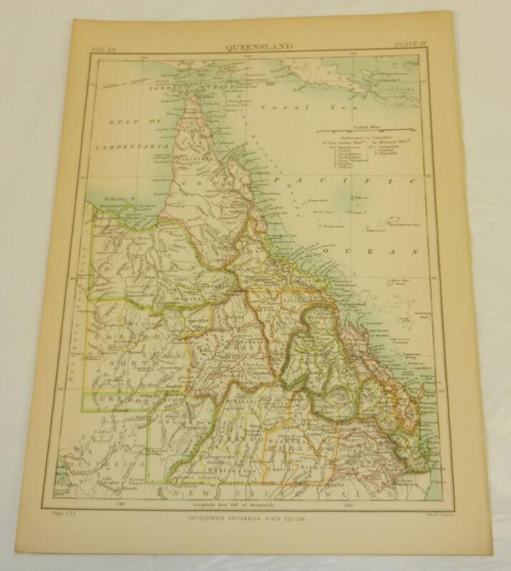 1886 Antique COLOR Map/QUEENSLAND, AUSTRALIA