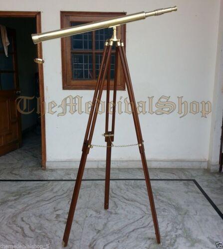 Vintage Style Collectible Brass Marine Tripod Telescope Port Island Antique Gift