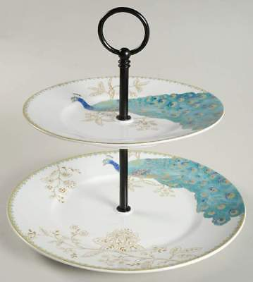222 Fifth PEACOCK GARDEN 2 Tiered Serving Tray 10529576