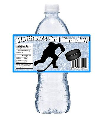 20 ICE HOCKEY PERSONALIZED BIRTHDAY PARTY FAVORS ~ WATER BOTTLE