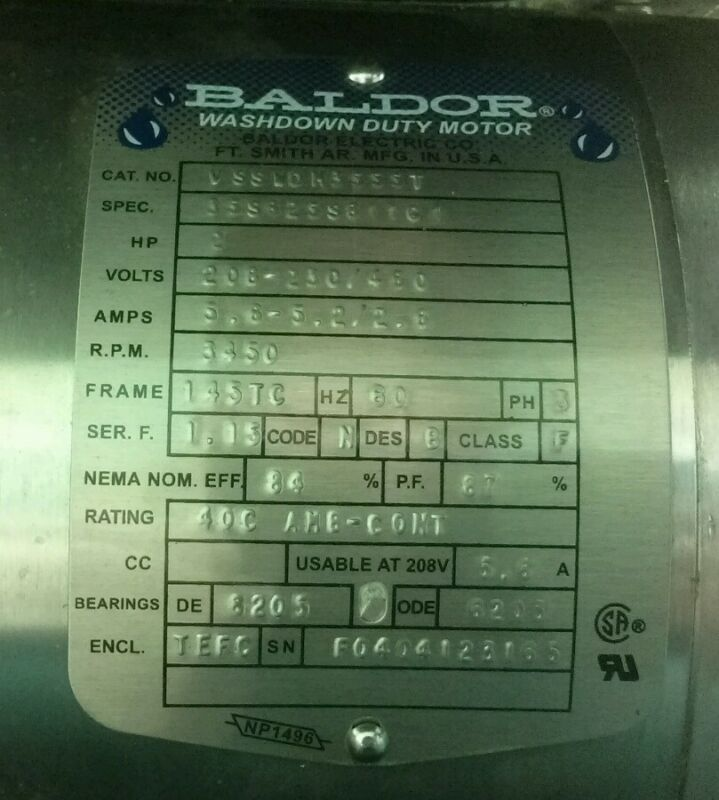 Stainless Steel Baldor Washdown Duty Motor. No.VSSWDM3555T