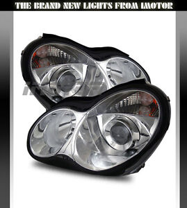 01-05 Mercedes Benz W203 C-Class 4DR Sedan Projector Chrome Headlights Lamps New