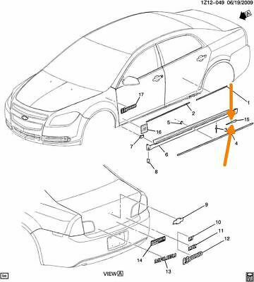 Rocker Molding Tape RH Chevrolet Malibu 08 09 10 11 12 GM OEM 25902603 K3