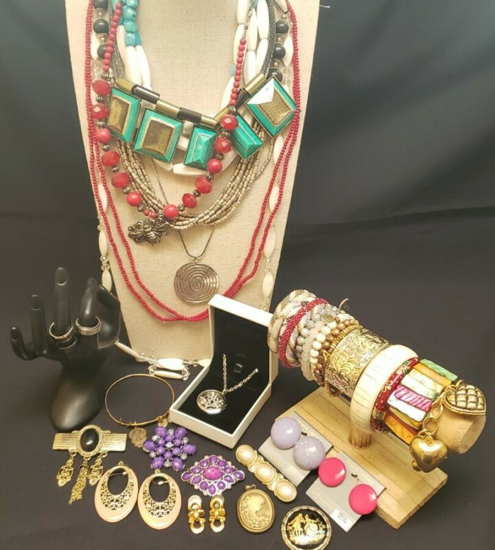 Lot of rings necklaces brooches bracelets cuff pendants earrings bangle designer
