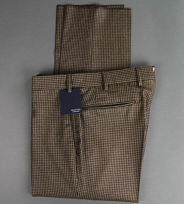 New Incotex Brown Wool Flat Front Dress Pants Slim Size 34 (50 EU) NWT