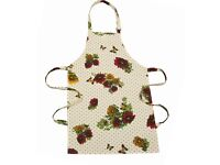 Cotton Flower Print Apron 52cm x 76cm - Yellow With Flowers NEW