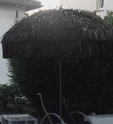 Bastschirm Hawaii Sonnenschirm mit Knicker Rund 200 cm SCHWARZ NEU Schwarz Sonnenschirm