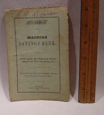 Canceled 1869 Machias Savings Bank Paper Passbook