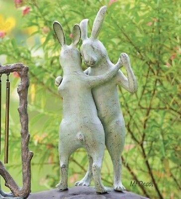 Bunnies First Dance Rabbit Couple Garden Sculpture  Metal Garden Bunny Statue  (Maiden Garden Statue)