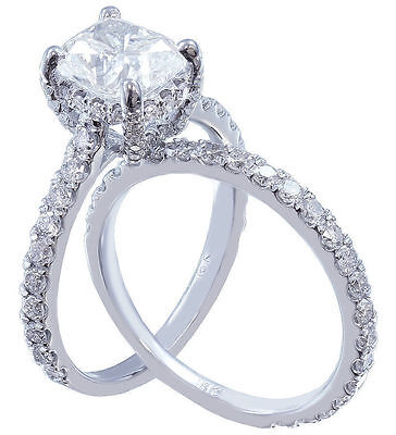 GIA I-SI1 18k Whtie Gold Cushion Cut Diamond Engagement Ring And Band 2.20ctw 7