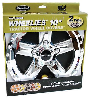 """2 Pair (4) New Wheelies Golf Car Cart Wheel Covers Hub Caps for 10"""" Tires GV180G"""