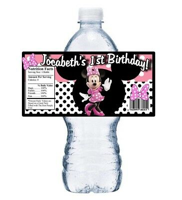 20 PINK MINNIE MOUSE PERSONALIZED BIRTHDAY PARTY FAVORS WATER BOTTLE LABELS