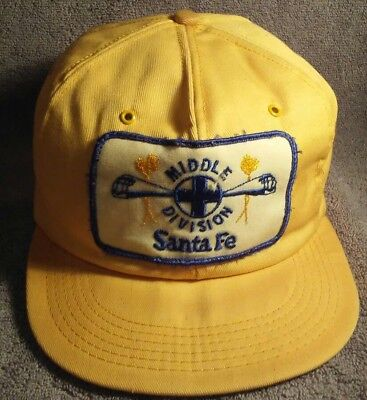 Blue And White Santa Hats (Santa Fe RR Cap Hat Patch K Brand Trucker Snapback Vintage Yellow White Blue)
